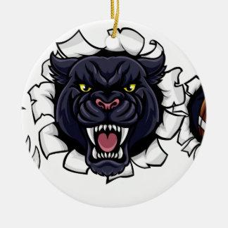 Ornamento De Cerâmica Mascote do futebol americano de pantera preta