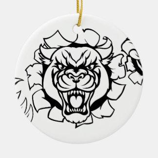 Ornamento De Cerâmica Mascote do golfe da pantera preta que quebra o