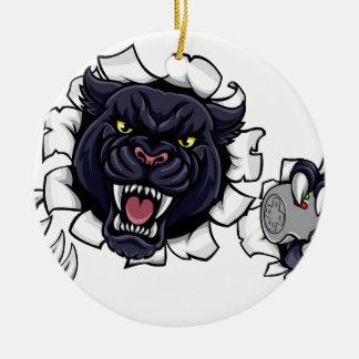 Ornamento De Cerâmica Mascote irritada de Esports da pantera preta