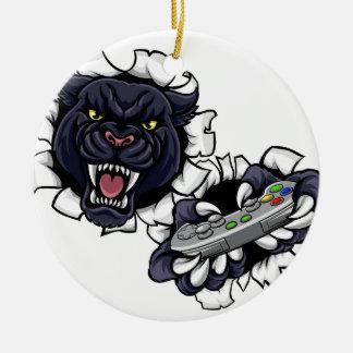 Ornamento De Cerâmica Mascote irritada do Gamer da pantera preta