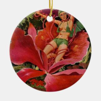 Ornamento De Cerâmica Menina do espaço comida pela flor