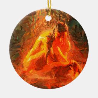 Ornamento De Cerâmica Menina no fogo - arte apaixonado do fogo