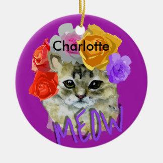 Ornamento De Cerâmica Meow cor-de-rosa florido da mantilha do gato