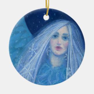 Ornamento De Cerâmica Metelitsa, donzela da neve, Snowgirl, arte de