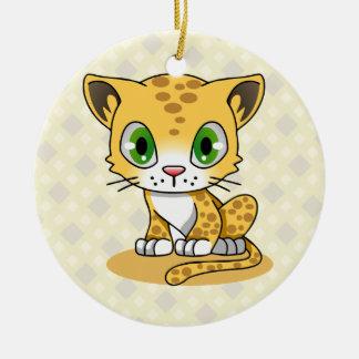 Ornamento De Cerâmica Miúdos bonitos dos desenhos animados do leopardo