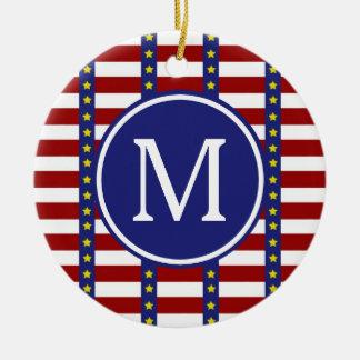 Ornamento De Cerâmica Monograma náutico da bandeira dos Estados Unidos