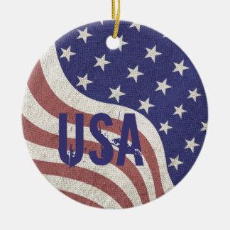 Ornamento De Cerâmica Monograma resistido orgulho dos EUA da bandeira