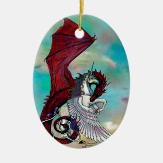 Ornamento De Cerâmica Monstro vermelho do réptil do dragão do pônei do