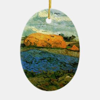 Ornamento De Cerâmica Monte de feno de Van Gogh sob um céu chuvoso,