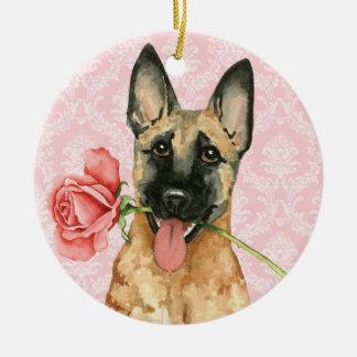Ornamento De Cerâmica Namorados Malinois cor-de-rosa