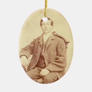 Ornamento De Cerâmica Natal antigo do retrato do cavalheiro do Victorian