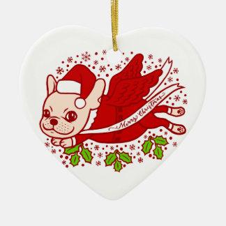 Ornamento De Cerâmica Natal com um Frenchie