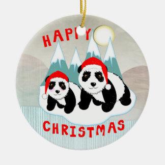 Ornamento De Cerâmica Natal da cena da neve das pandas de Kawaii