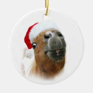 Ornamento De Cerâmica Natal engraçado do cavalo