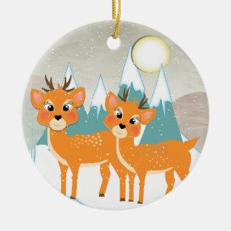 Ornamento De Cerâmica Natal festivo da cena bonito da neve da rena dos