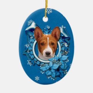 Ornamento De Cerâmica Natal - floco de neve azul - Basenji