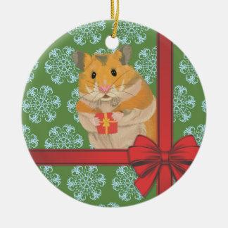Ornamento De Cerâmica Natal Hammy do hamster do Natal