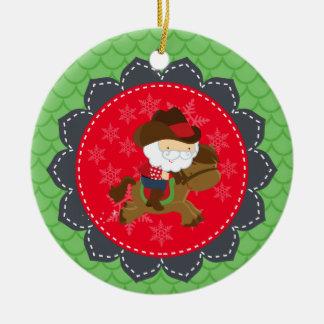 Ornamento De Cerâmica Natal personalizado do cavalo de equitação do