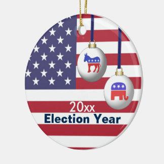 Ornamento De Cerâmica Natal republicano ou Democrática do ano da eleição