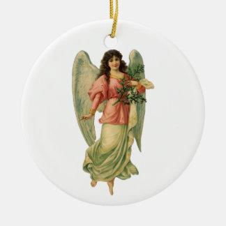 Ornamento De Cerâmica Natal vintage, anjo antigo do Victorian
