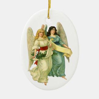 Ornamento De Cerâmica Natal vintage, anjos angélicos do Victorian