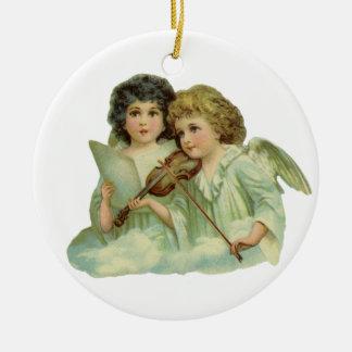 Ornamento De Cerâmica Natal vintage, violino da música dos anjos do