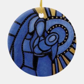 Ornamento De Cerâmica Natividade azul moderna Jesus Mary Joseph do Natal
