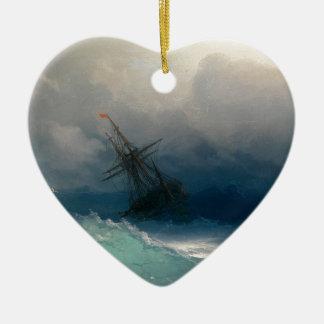 Ornamento De Cerâmica Navio em mares tormentosos, Ivan Aivazovsky