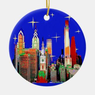 Ornamento De Cerâmica Noite estrelado Philadelphfia, céu abstrato com