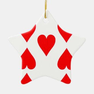 Ornamento De Cerâmica Nove do cartão de jogo dos corações