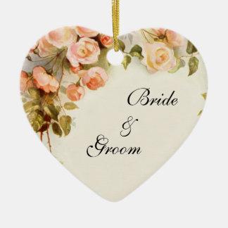 Ornamento De Cerâmica O casamento vintage, rosa do rosa da antiguidade