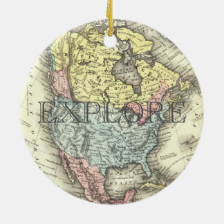 Ornamento De Cerâmica O mapa do vintage do estado unido explora