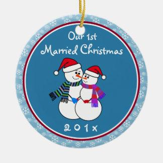 Ornamento De Cerâmica ø Natal casado do casal da neve do divertimento do