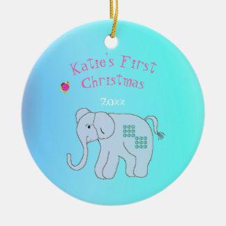 Ornamento De Cerâmica O primeiro Natal do bebê encantador do elefante