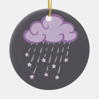 Ornamento De Cerâmica O roxo ondula a nuvem de chuva com estrelas de