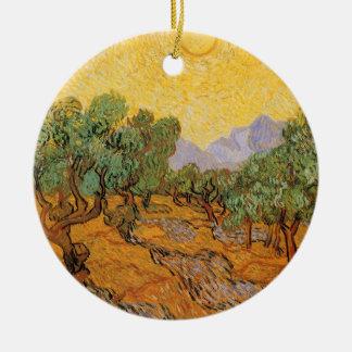 Ornamento De Cerâmica Oliveiras, céu amarelo e Sun, Vincent van Gogh