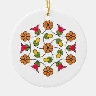 Ornamento De Cerâmica Ornamento-Flor Series#63 do círculo