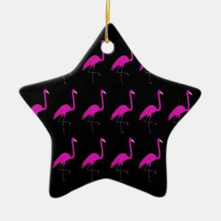 Ornamento De Cerâmica Os flamingos picam no preto