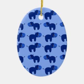 Ornamento De Cerâmica Os hipopótamos bonitos projetam o DELICADO AZUL