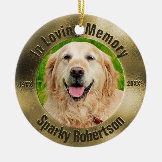 Ornamento De Cerâmica Ouro do memorial do animal de estimação