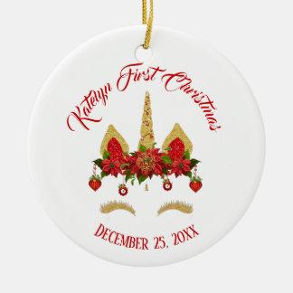 Ornamento De Cerâmica Ouro vermelho do unicórnio mágico do Natal