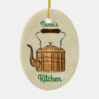 Ornamento De Cerâmica OVAL antiquado da chaleira do cobre da cozinha