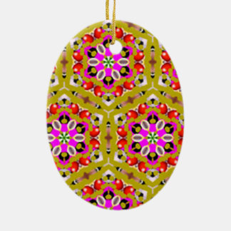 Ornamento De Cerâmica padrão com flores formas geometricas
