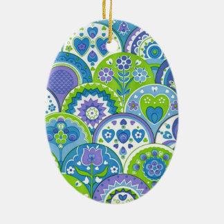 Ornamento De Cerâmica padrão de flores e corações