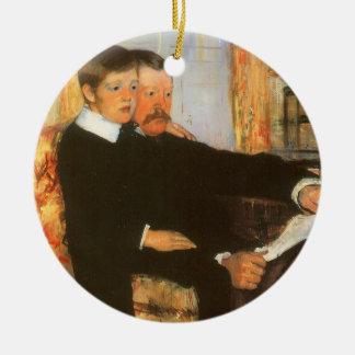 Ornamento De Cerâmica Pai do vintage e retrato do filho por Mary Cassatt