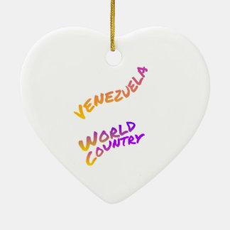 Ornamento De Cerâmica País do mundo de Venezuela, arte colorida do texto