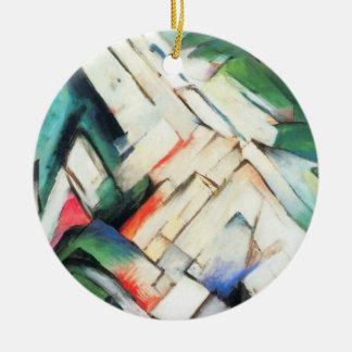 Ornamento De Cerâmica Paisagem por Franz Marc, Cubism das montanhas do