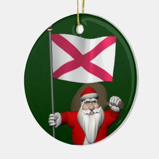 Ornamento De Cerâmica Papai Noel com a bandeira de Irlanda do Norte