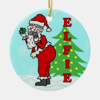 Ornamento De Cerâmica Papai noel engraçado Elfie do Natal
