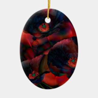 Ornamento De Cerâmica Papoilas pretas